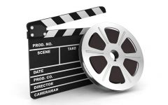 Clapboard action cinema negative film reel 3D