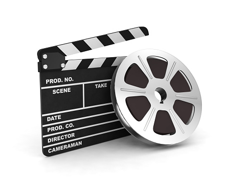 Clapboard action cinema negative film reel 3D